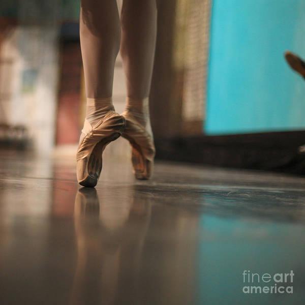 Studio Art Print featuring the photograph Ballerina Standing In Ballet Shoes by Anna Jurkovska