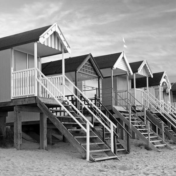 Beach Huts Art Print featuring the photograph Beach Huts Sunset In Black And White Square by Gill Billington