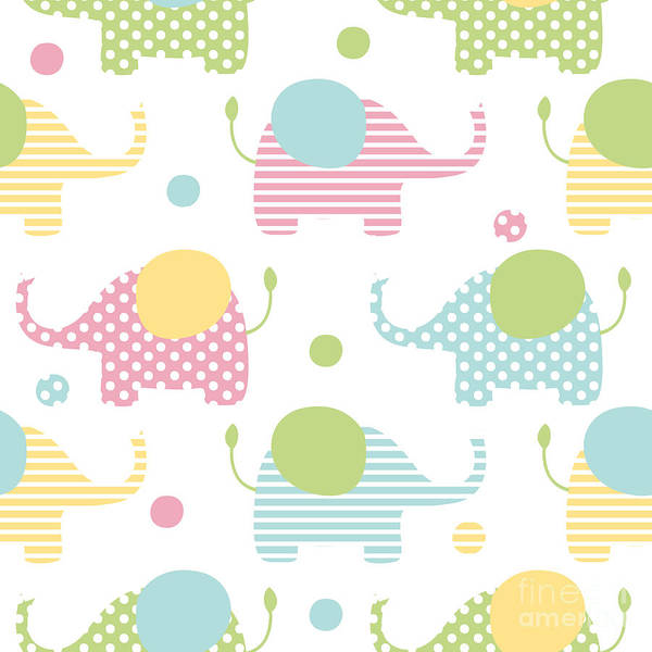 Happy Art Print featuring the digital art Cute Seamless Pattern With Elephants In by Martynmarin