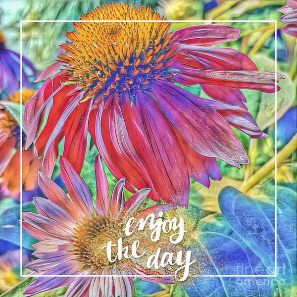 Cards Art Print featuring the digital art Enjoy The Day by Paola Baroni