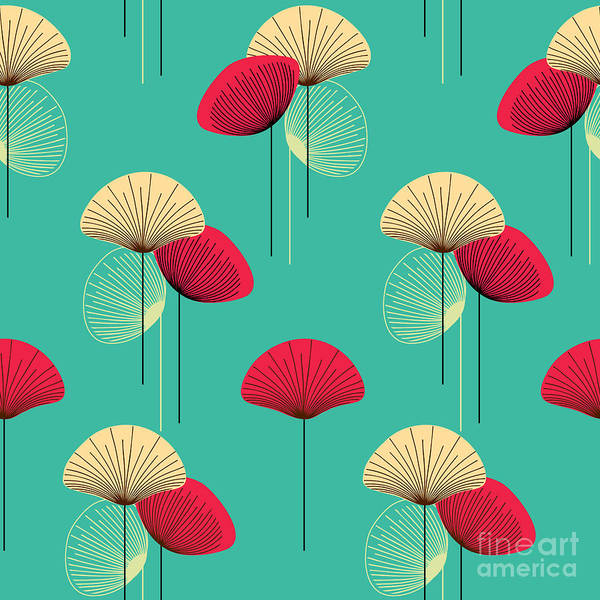 Deco Art Print featuring the digital art Floral Seamless Vector Pattern by Trendywest