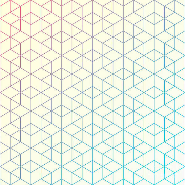 Hexagon Art Print featuring the digital art Geometric Pattern Of Intersecting by Vector Fx