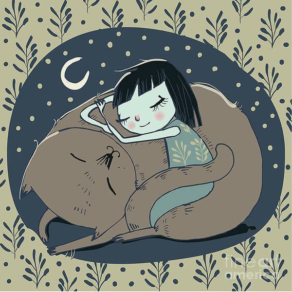 Beauty Art Print featuring the digital art Girl Sleeps With Cat by Elena Barenbaum