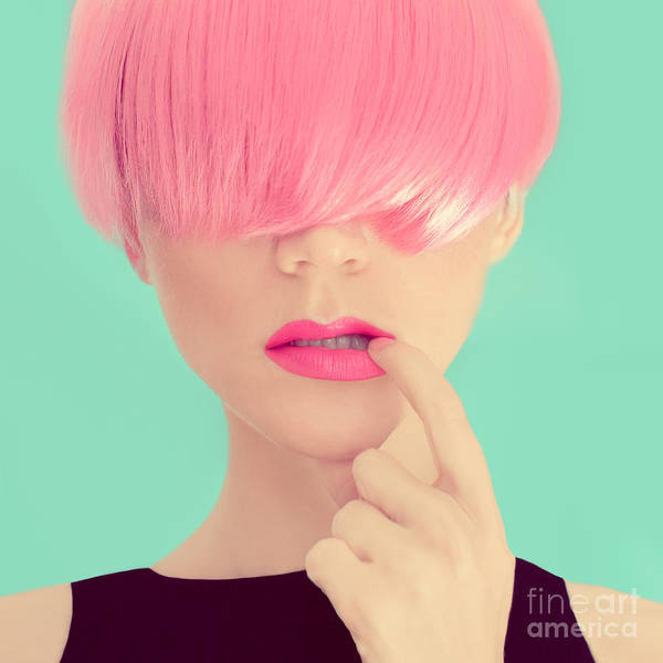 Makeup Art Print featuring the photograph Girl With Pink Hair. Fashionable Trend by Evgeniya Porechenskaya