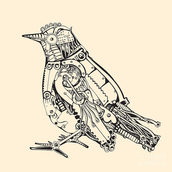 Steel Art Print featuring the digital art Metal Bird by Ryger