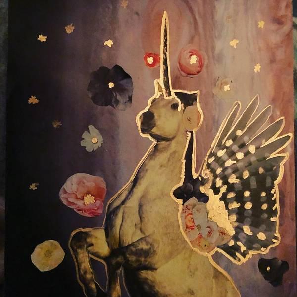 Pegasus Art Print featuring the mixed media Pegasus 2 by Meghan Misenti