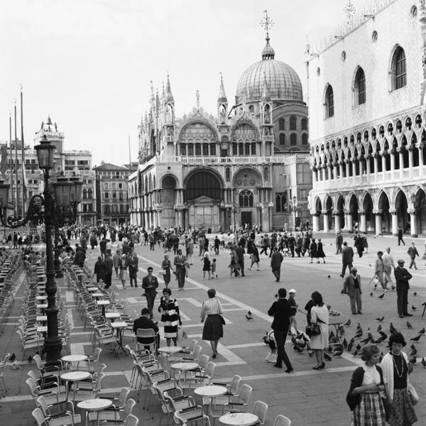 People Art Print featuring the photograph Place, San Marco Place At Venise In by Keystone-france