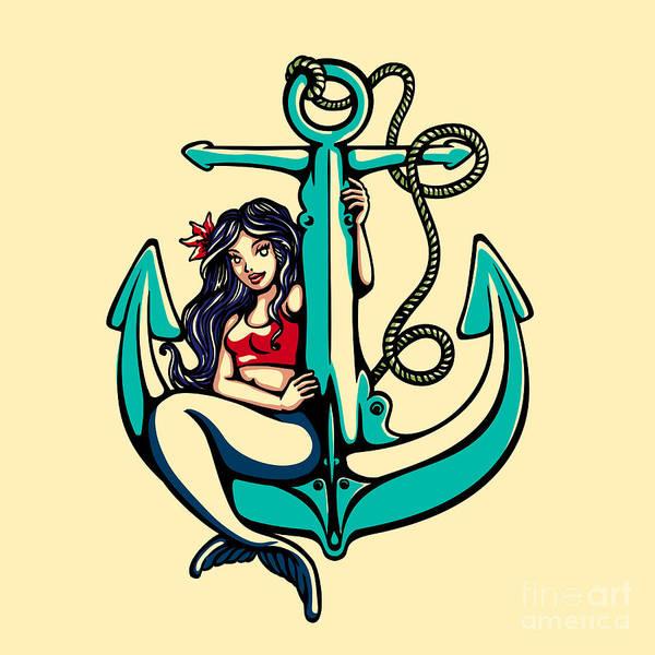 Symbol Art Print featuring the digital art Pretty Siren Mermaid Pin Up Girl by Durantelallera