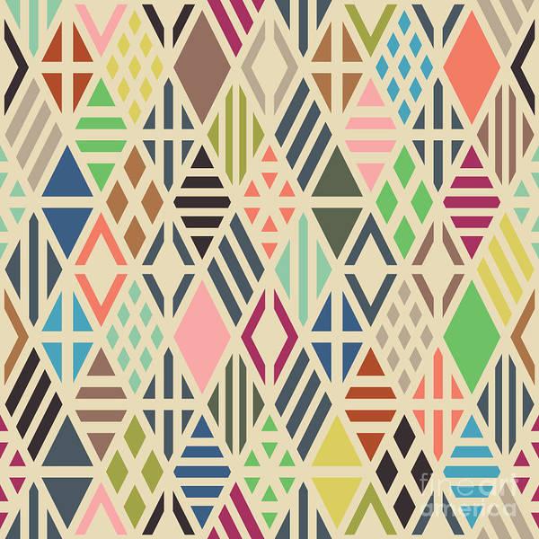 Trend Art Print featuring the digital art Rhombuses Seamless Pattern. Geometric by Ilya Bolotov