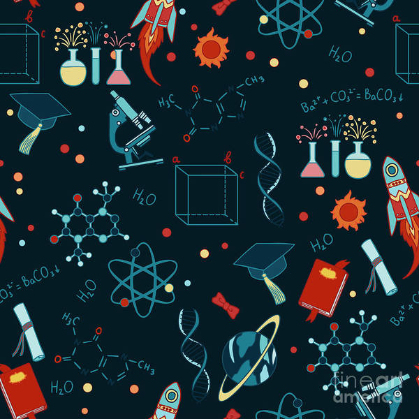 Chemistry Art Print featuring the digital art Science Stuff Vector Seamless Pattern by Anastasia Mazeina