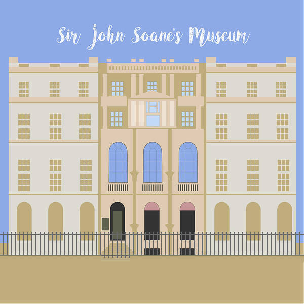 Blue Art Print featuring the digital art Sir John Soane's Museum by Claire Huntley