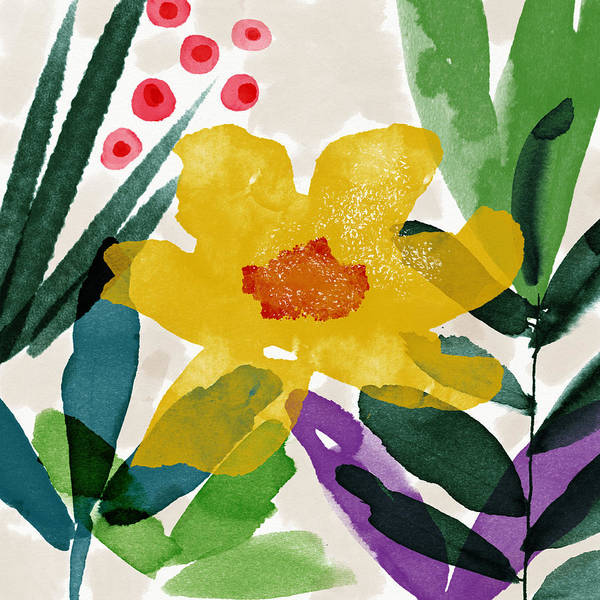Garden Art Print featuring the mixed media Spring Garden Yellow- Floral Art By Linda Woods by Linda Woods