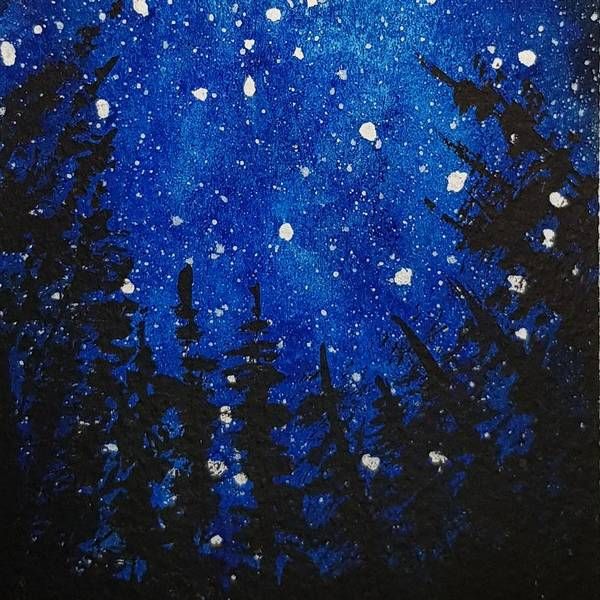 Acrylics Art Print featuring the painting Starry Blue Sky by Paola Baroni
