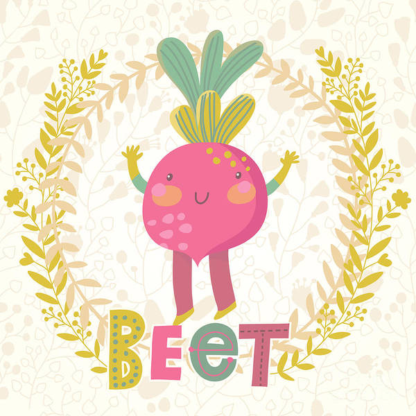 Salad Art Print featuring the digital art Sweet Beet In Funny Cartoon Style by Smilewithjul