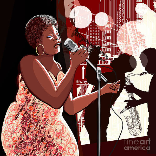 Voice Art Print featuring the digital art Vector Illustration Of Singer On Grunge by Isaxar