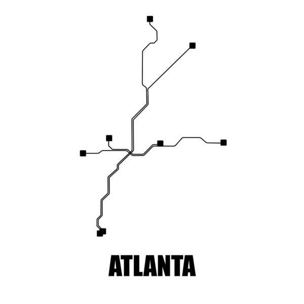Atlanta Art Print featuring the digital art White Atlanta Subway Map by Naxart Studio