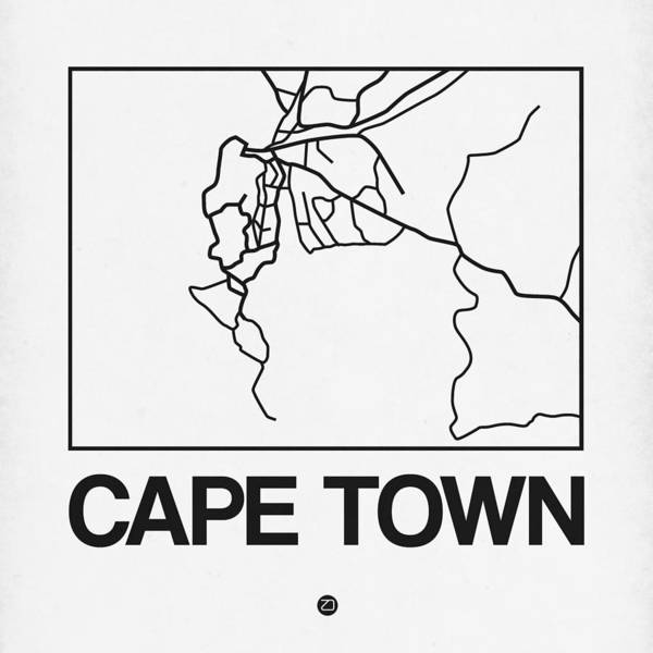 Unique Collection Of City Street Maps. American Cities Art Print featuring the digital art White Map Of Cape Town by Naxart Studio