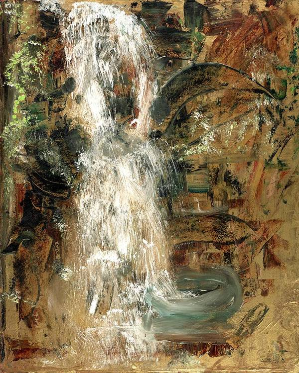 Waterfall Art Print featuring the painting Oriental Waterfall by Michela Akers