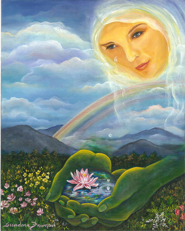 Lotus Art Print featuring the painting Tears Of Devotion by Sundara Fawn