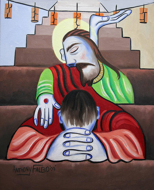 In Jesus Name Framed Prints Art Print featuring the painting In Jesus Name by Anthony Falbo
