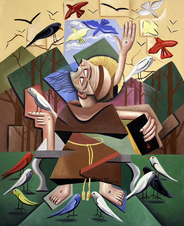 Saint Francis Sermon To The Birds Art Print featuring the painting Saint Francis Sermon To The Birds by Anthony Falbo