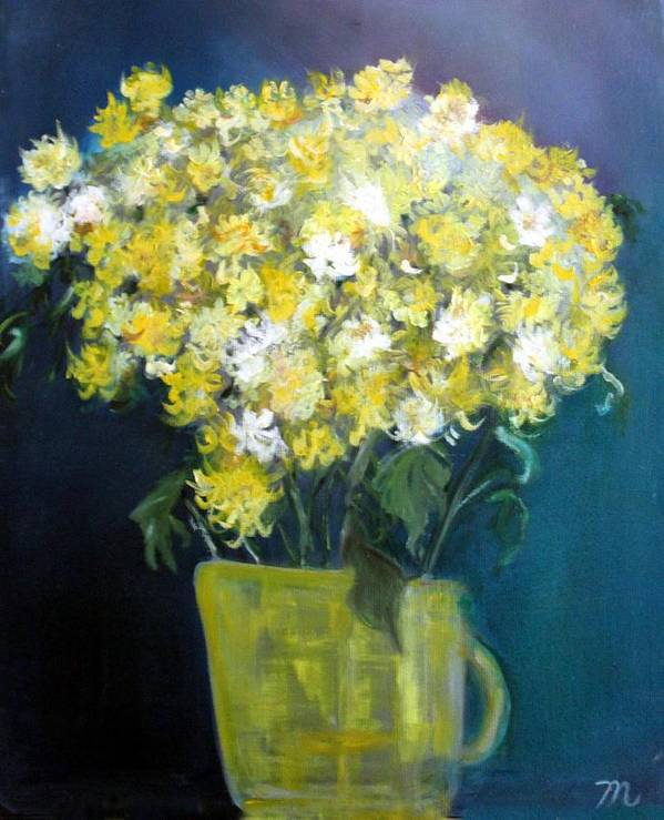 Chrysanthemums Art Print featuring the painting Chrysanthemums by Michela Akers