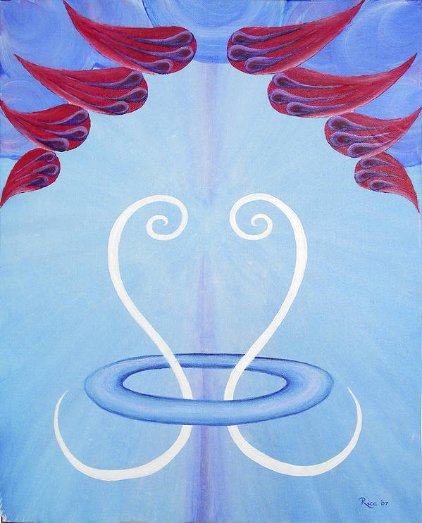 Abstract Art Print featuring the painting Phoenix - Happiness by Hendrica Regez