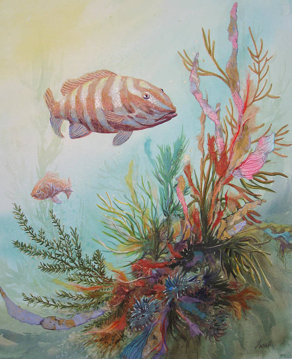 Underwater Art Print featuring the painting Suspended Animation by Don Trout