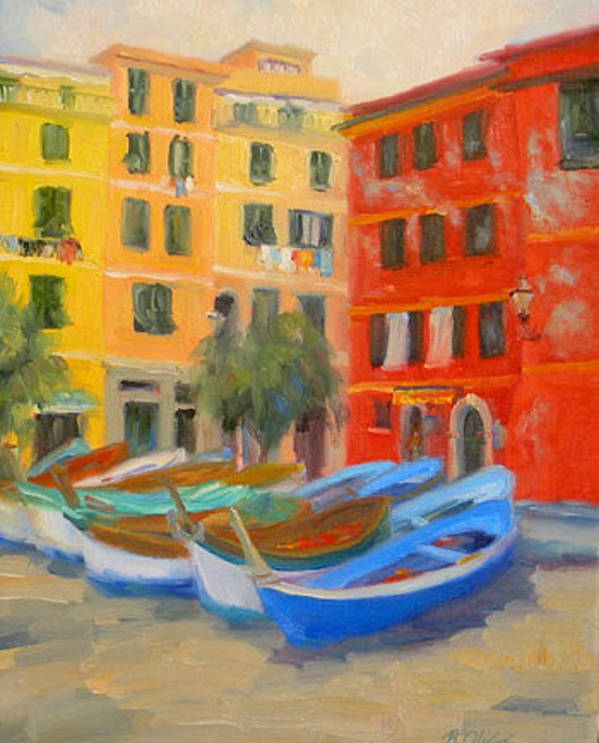 Italy Art Print featuring the painting Vernazza Fleet by Bunny Oliver