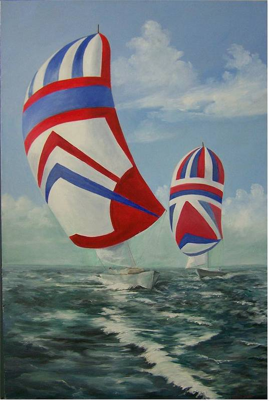Sailing Ships Art Print featuring the painting Flying The Colors by Wanda Dansereau