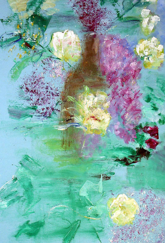 Abstract Art Print featuring the painting Floral Reflections by Michela Akers