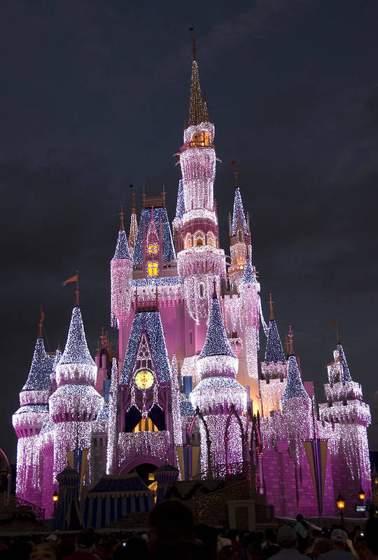 Walt Disney World Art Print featuring the photograph Glittering Cinderella Castle by Charles Ridgway