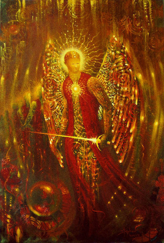 Angel Art Print featuring the digital art Host Of Holies With One Swing Concludes by Stephen Lucas