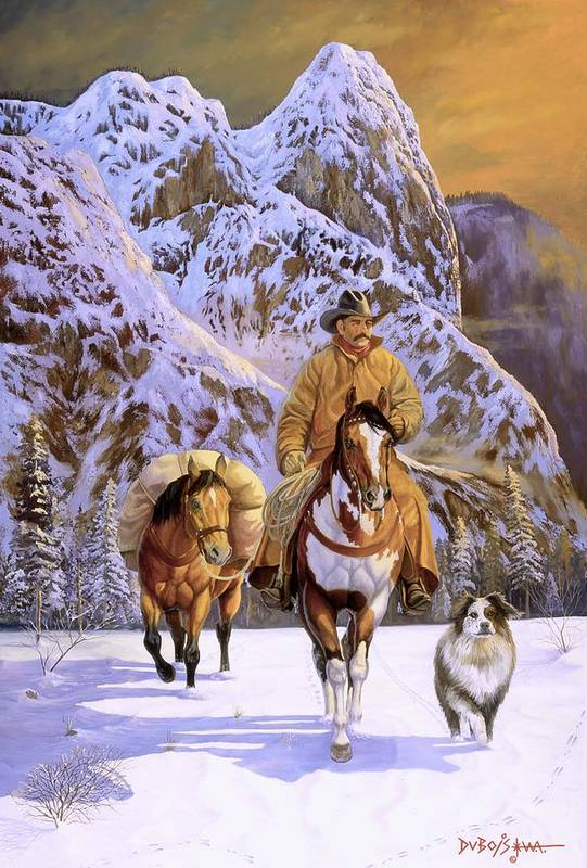 Cowboy Art Print featuring the painting Pardners by Howard Dubois