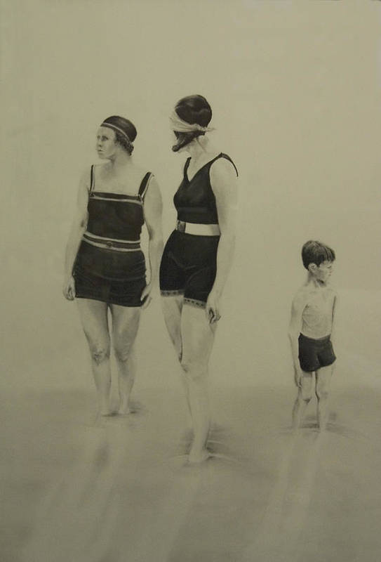 Figurative Art Print featuring the drawing Two Women Bathers With Child by John C
