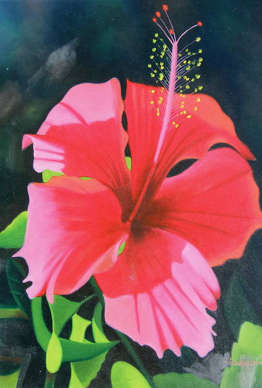 Flower Close Up Art Print featuring the painting Up Close And Personal Too by Imagine Art Works Studio