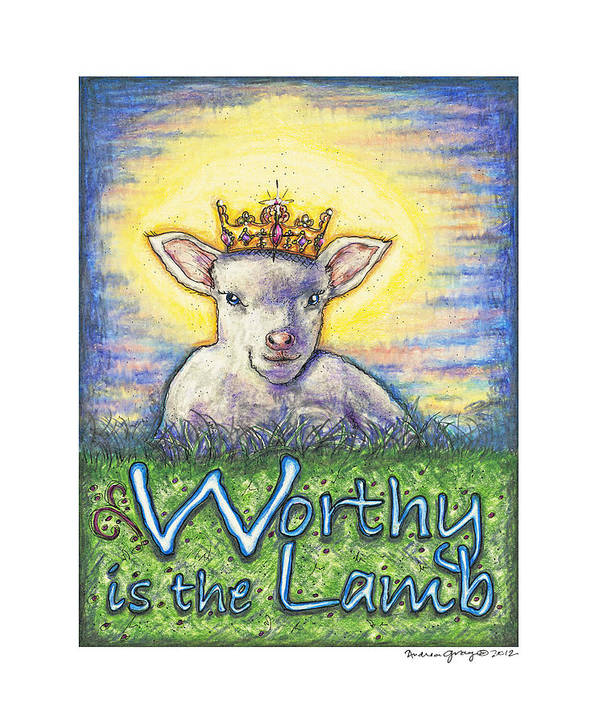 Jesus Print featuring the sculpture Worthy Is The Lamb by Andrea Gray