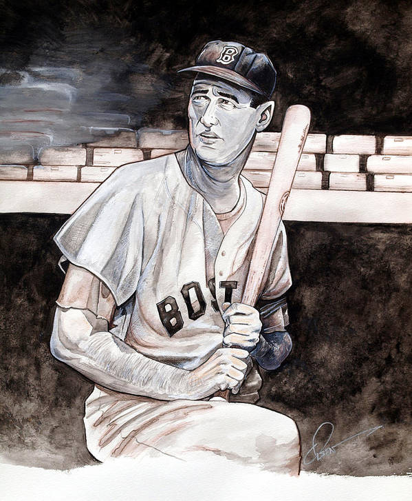Ted Williams Art Print featuring the painting Ted Williams by Dave Olsen