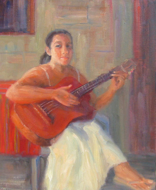 Honduras Art Print featuring the painting La Guitarista by Bunny Oliver