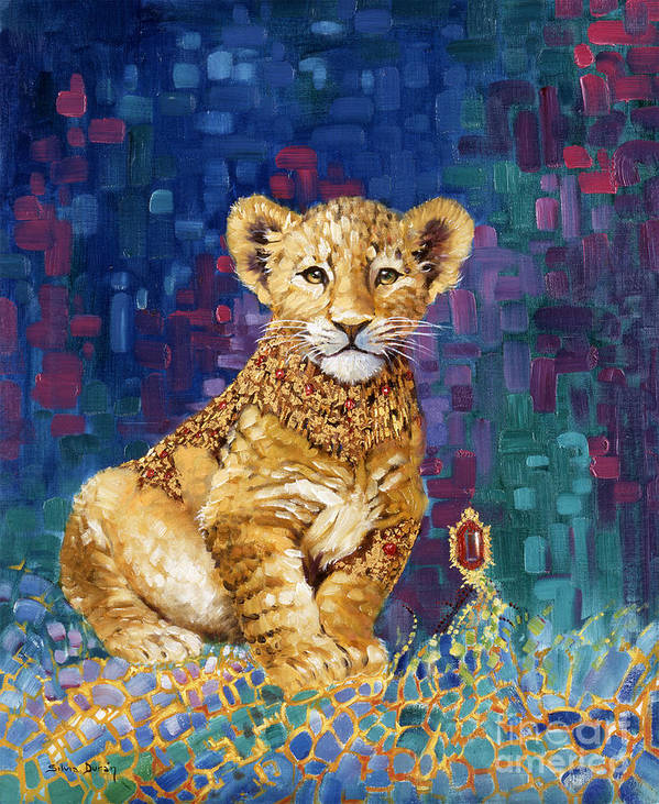 Lion Cub Art Print featuring the painting Lion Prince by Silvia Duran