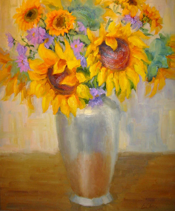 Sunflowers Art Print featuring the painting Sunflowers In A Silver Vase by Bunny Oliver