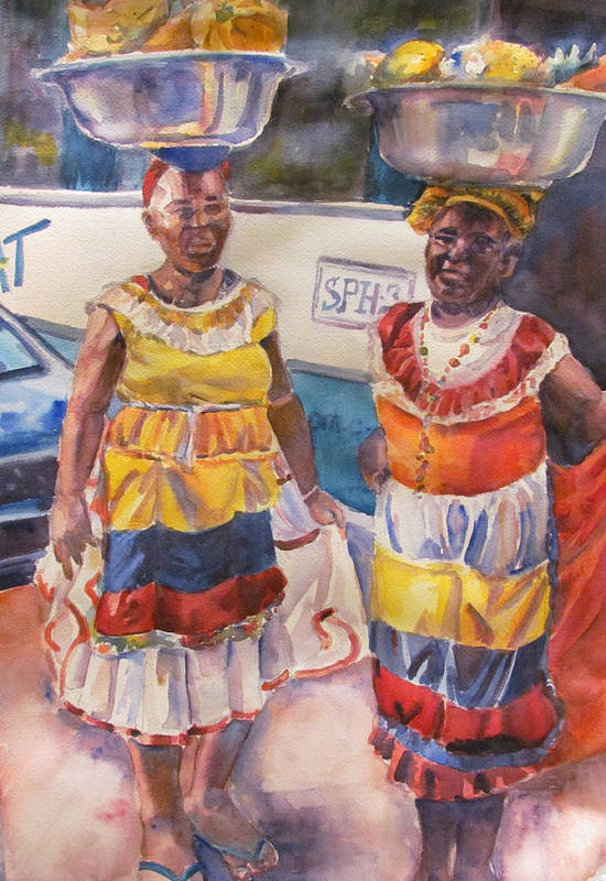 Figures Art Print featuring the painting Cartegna Ladies by Joyce Kanyuk