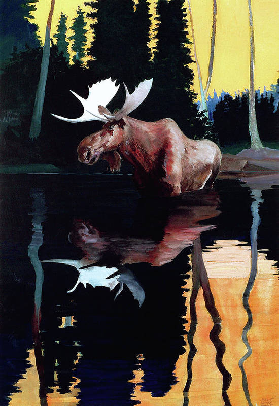 Moose Art Print featuring the painting Bull Moose by Robert Wesley Amick