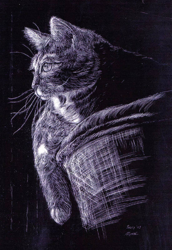 Cat Art Print featuring the painting Cat At The Window by Roger Parnow
