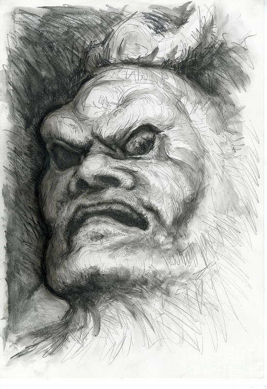 Fantasy Art Print featuring the drawing Japanese Demon by Tim Thorpe