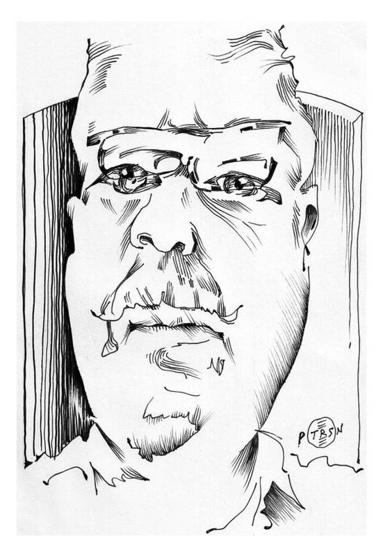 Kevin Callahan Artist Portrait Art Print featuring the drawing Kevin Callahan by Gary Peterson