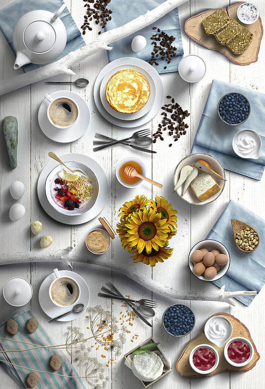 Delicious Summer Breakfast With Sunflowers by Johanna Hurmerinta