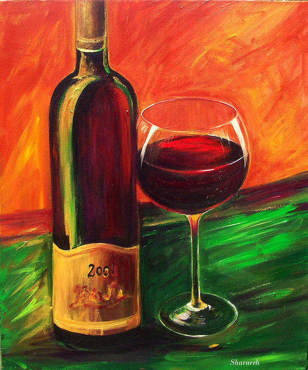 Wine Art Painting Art Print featuring the painting Simple Pleasures by Sheri Chakamian