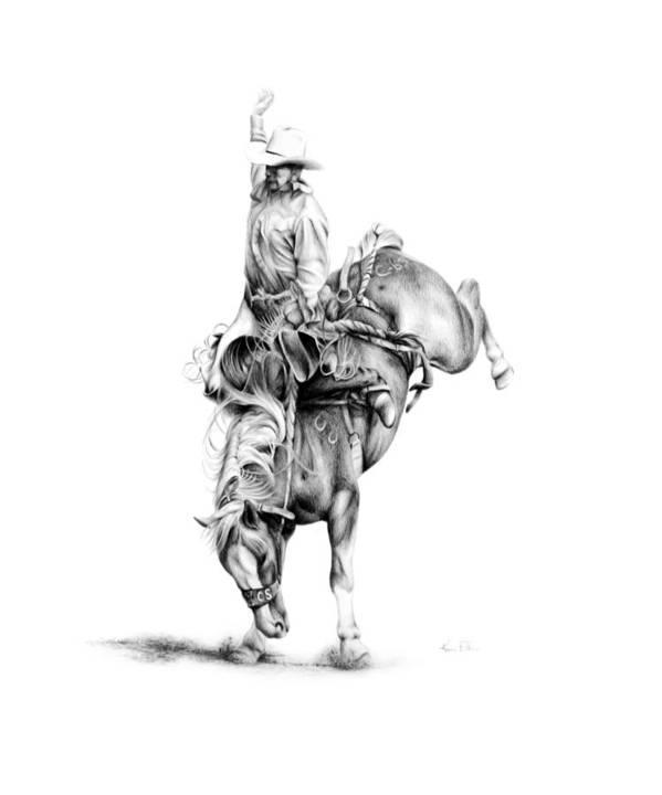 Rodeo Scene Art Print featuring the drawing A Good Ride by Karen Elkan