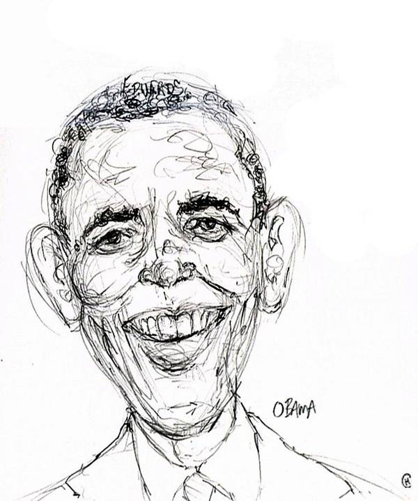Caricature Satire Political Cartoon Politics Art Print featuring the drawing Barack Obama by Cameron Hampton PSA